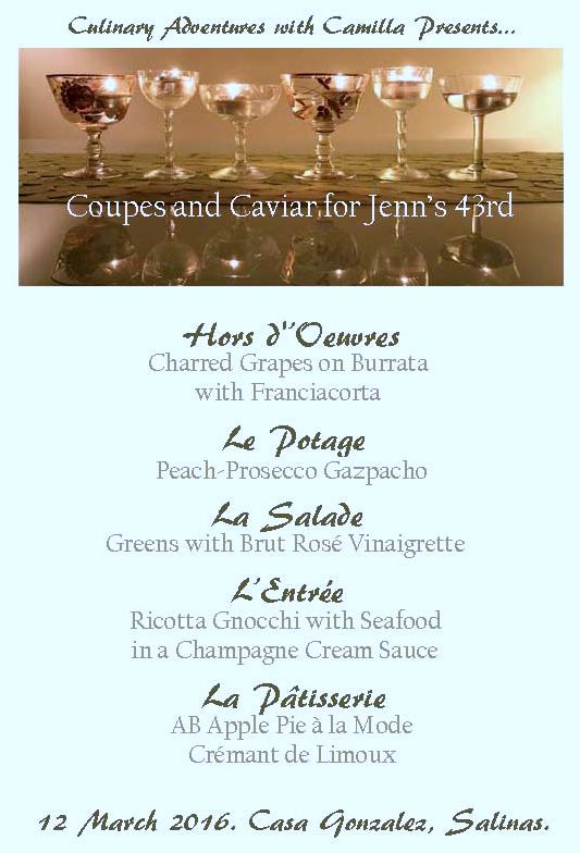 Culinary Adventures With Camilla Coupes Amp Caviar Menu For