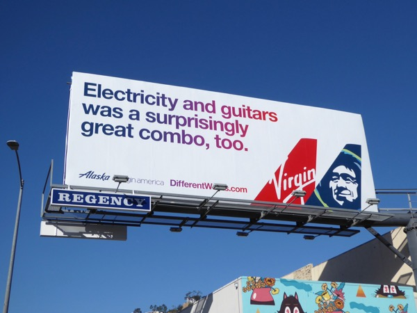 Electricity guitars great combo Virgin America Alaska billboard
