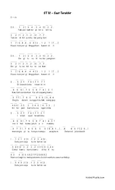 pencarian not angka : Not Angka Lagu Saat Terakhir - ST 12