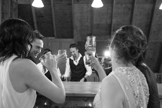 A toast during the Desserts at the barn reception at Jonna and Heather's Inn at West Settlement Wedding by Karen Hill Photography