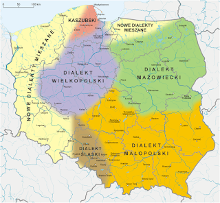 Color-coded map labeled in Polish, showing Polish dialects by region.