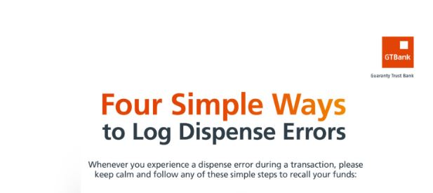 4 Ways to Log Dispense Errors codes with GTbank ATM and