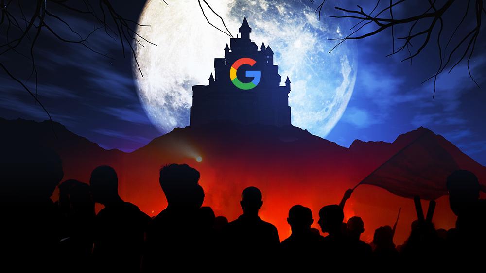 google no topo e pessoas em baixo revoltadas