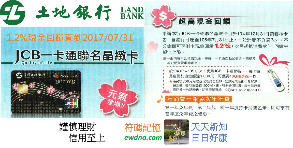 土地銀行一卡通聯名晶緻卡1.2%現金回饋至2017/07/31! @ 符碼記憶