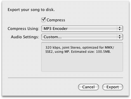 Exporting the highest quality sound files from garageband