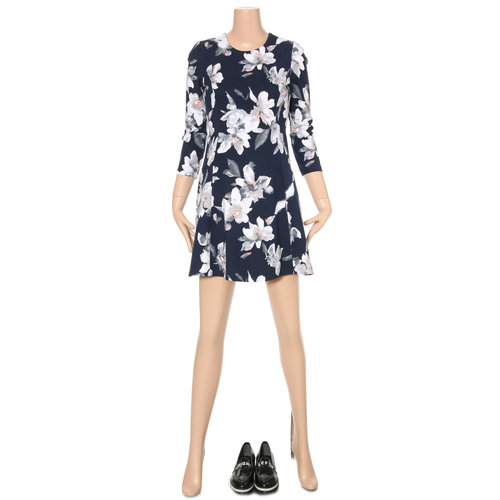Floral Three-Quarter Sleeved Dress