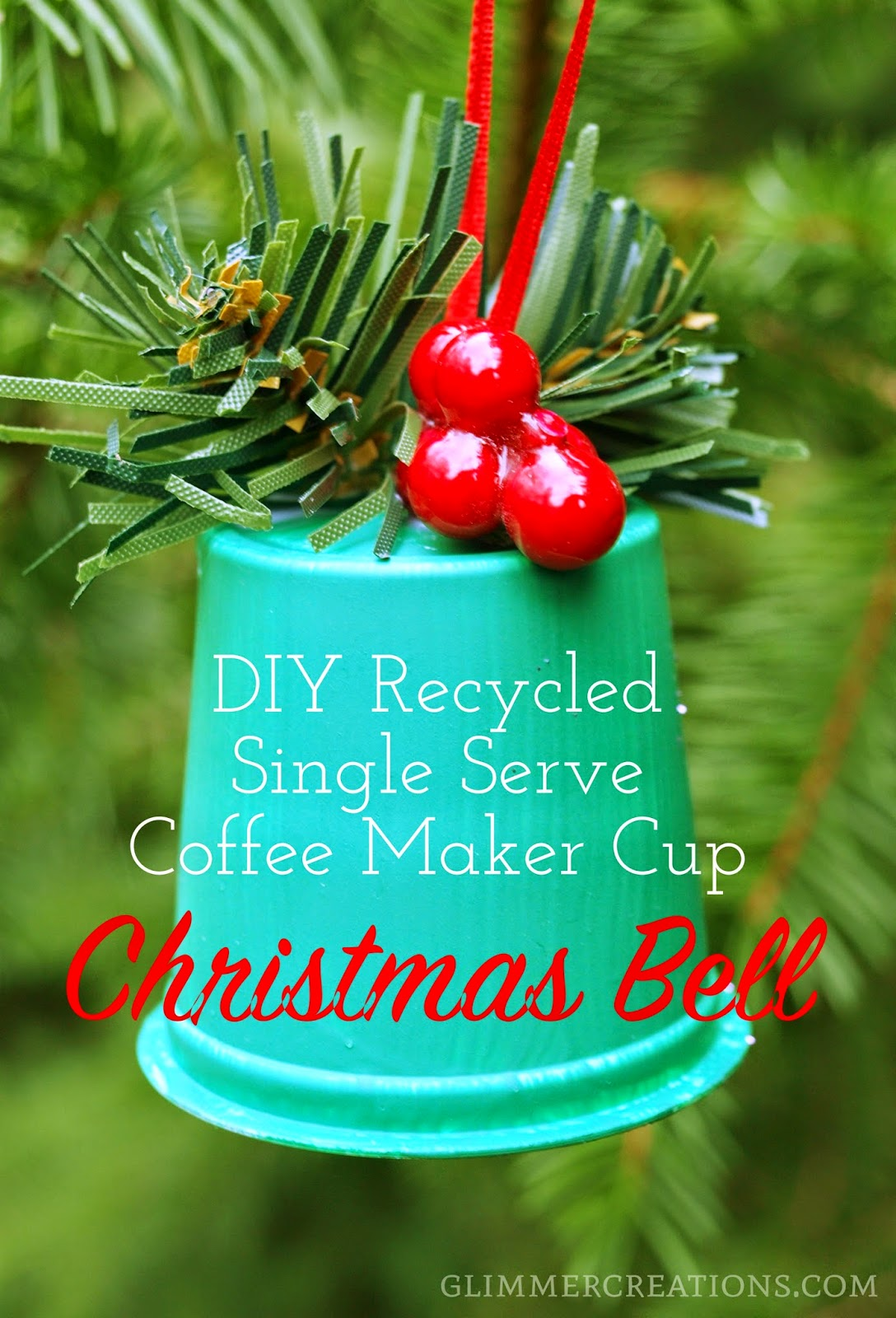 Bell christmas ornament - Recycled Single Serve Coffee Maker Cup Christmas Bell Ornament Tutorial