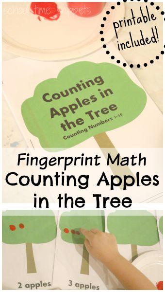 Fingerprint Apples Preschool Counting Book {FREE Printable} School