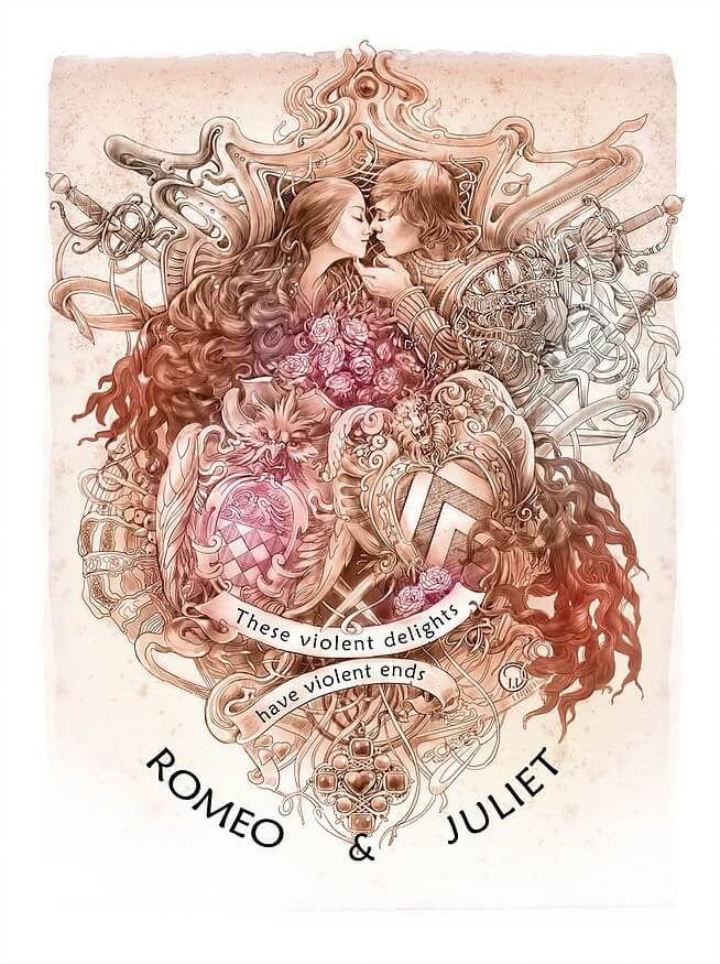 02-Romeo-and-Juliet-Irina-Vinnik-Intricate-Drawings-for-a-Shakespeare-Calendar-www-designstack-co