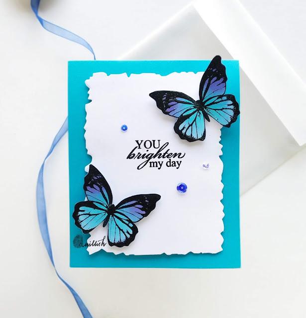Mudra butterfly stamp, Beautiful butterflies stamp, butterfly card, clean and simple butterfly card, quillish, card by Ishani, Blog hop thyroid awareness, madewithmudra