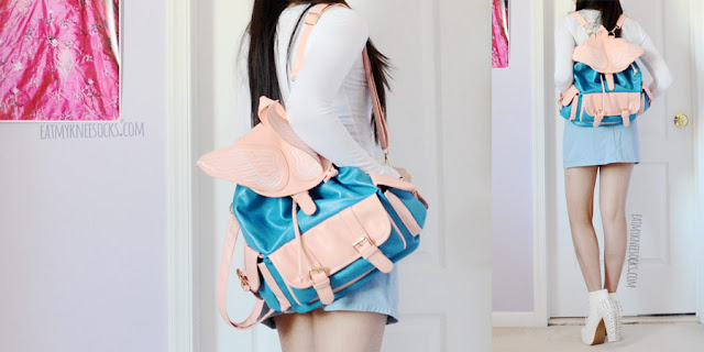 Pastel blue and pink angel wing faux leather backpack from Sammydress; similar to Dollskill, cute Harajuku style.
