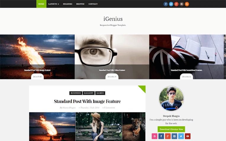 iGenius Free Blogger Template