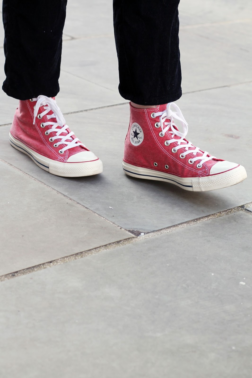 black corduroy dungarees with washed red high top converse all star chuck taylors from asos