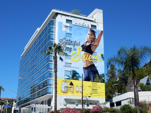 Giant Protein World beautiful day to sweat billboard