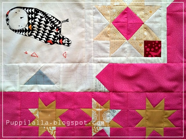 Puppilalla, Gingiber, Thicket Fabric, Baby Quilt, modern Patchwork, Embroidery, HST, Wonky Stars