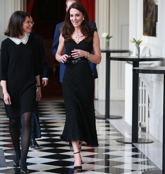 Kate Middleton Jewelry, Balenciaga Eugenia Earrings, wore Gianvito Rossi Suede pumps