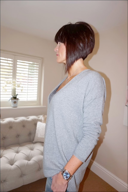 My Midlife Fashion, Hope Fashion the deep vee slouch pop on knit, modern rarity silk lace camisole