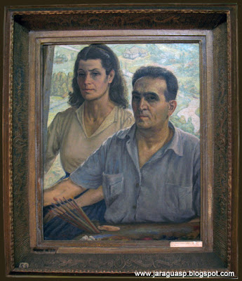 Narciza e Henrique Manzo, pintados pelo próprio Manzo. Esse quadro pertence ao acervo da Galeria Narciza.