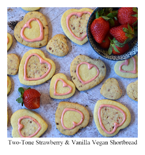 These fun two-toned shortbread biscuits are flavoured with strawberry and vanilla.  This vegan shortbread recipe is perfect for so many people including those who follow a dairy-free diet.  Their heart shape makes them perfect for Valentine's Day, but the idea also lends itself to children's parties, bake sales, picnics and general yummy home baking!