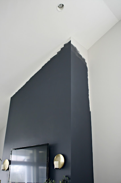 Painting a two story fireplace