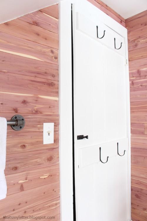 bathroom makeover cedar planked walls