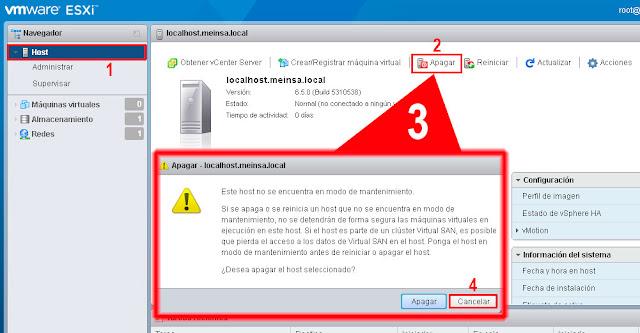 Si se apaga o se reinicia un host que no se encuentra en modo mantenimiento, no se detendrán de forma segura las máquinas virtuales en ejecución en este host. Si el host es parte de un clúster Virtual SAN, es posible que pierda el acceso a los datos de Virtual SAN en el host. Ponga el host en modo mantenimiento antes de reiniciar o apagar el host.