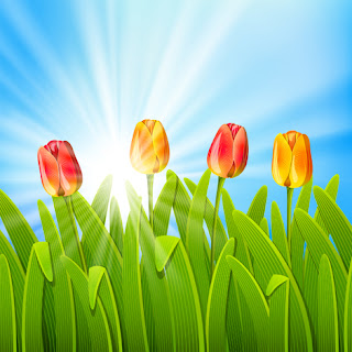 Clipart Image of Tulips in Grass Against a Blue Sky