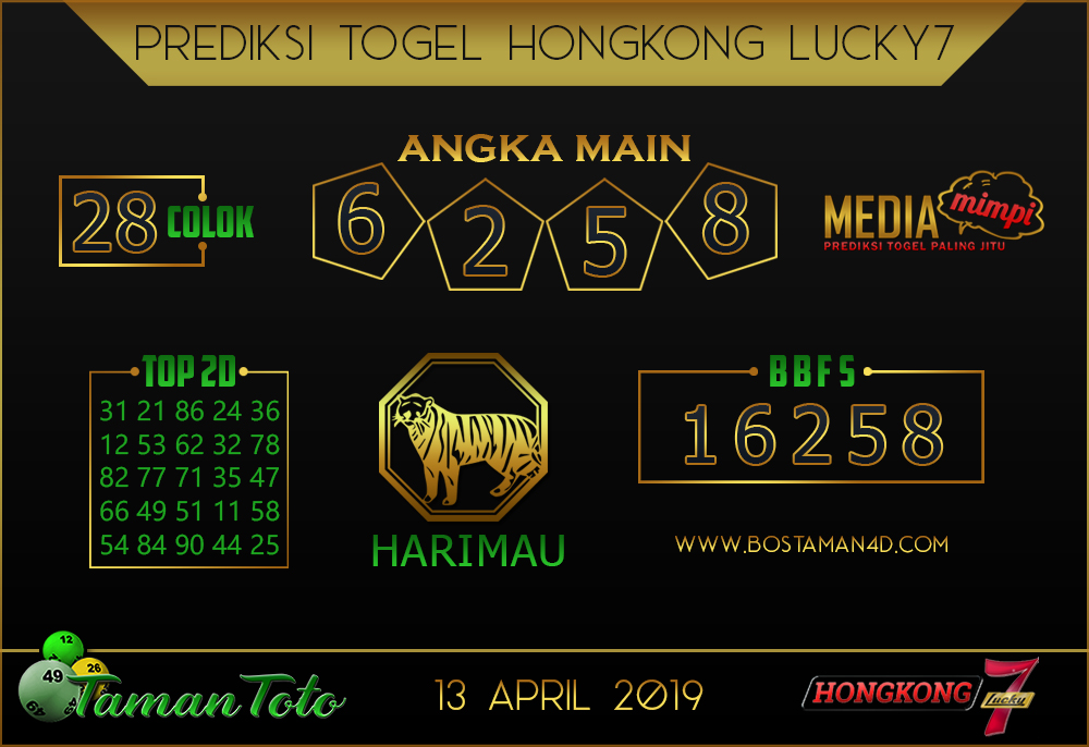 Prediksi Togel HONGKONG LUCKY 7 TAMAN TOTO 13 APRIL 2019