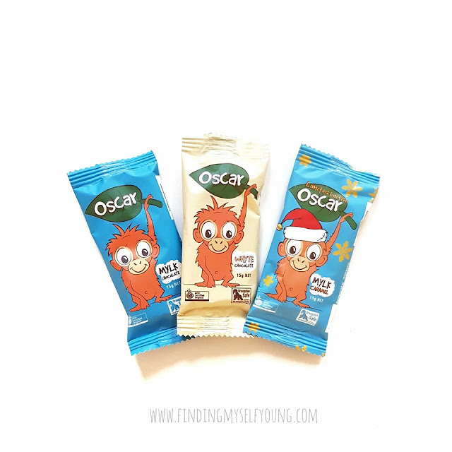 mylk chocolate, mylk caramel, whyte chocolate oscar the orangutan