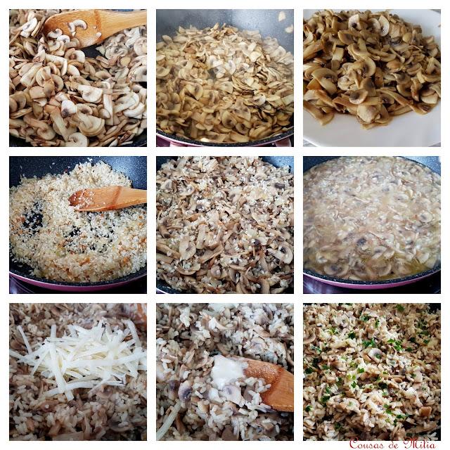 Paso a paso de arroz con champiñones