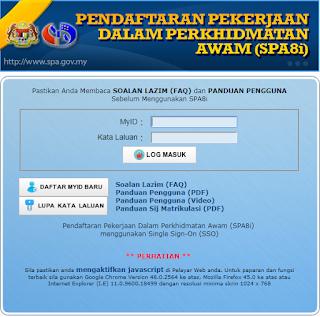 semakan status permohonan spa8i secara online