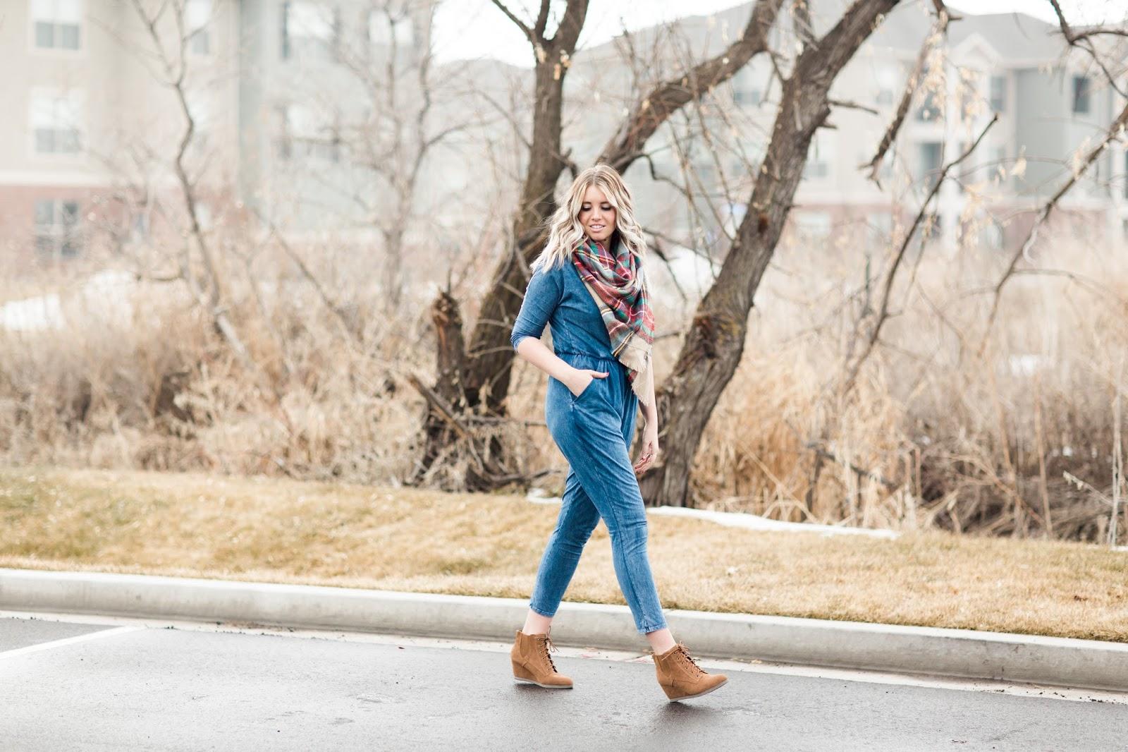 Utah Fashion Blogger, Denim Jumpsuit, Goldies