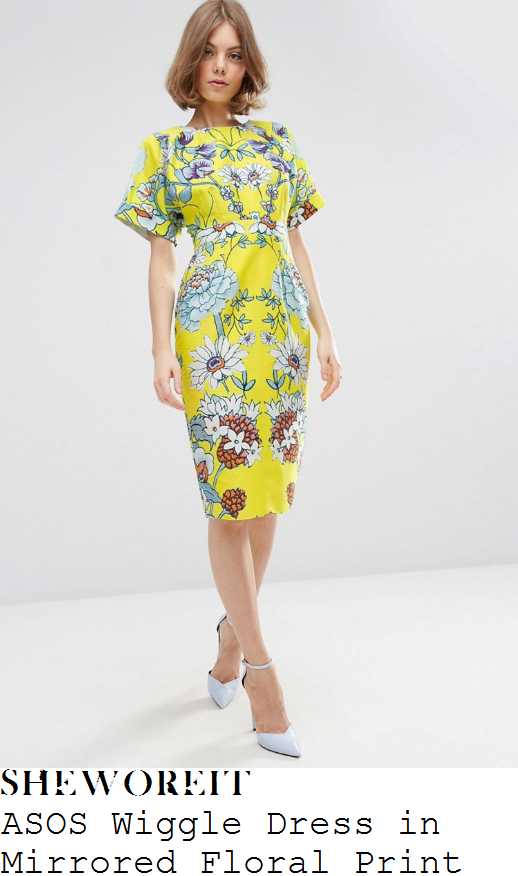 vicky-pattison-asos-bright-yellow-white-green-orange-and-multicoloured-oversized-mirror-floral-print-short-sleeve-high-waisted-wiggle-pencil-dress