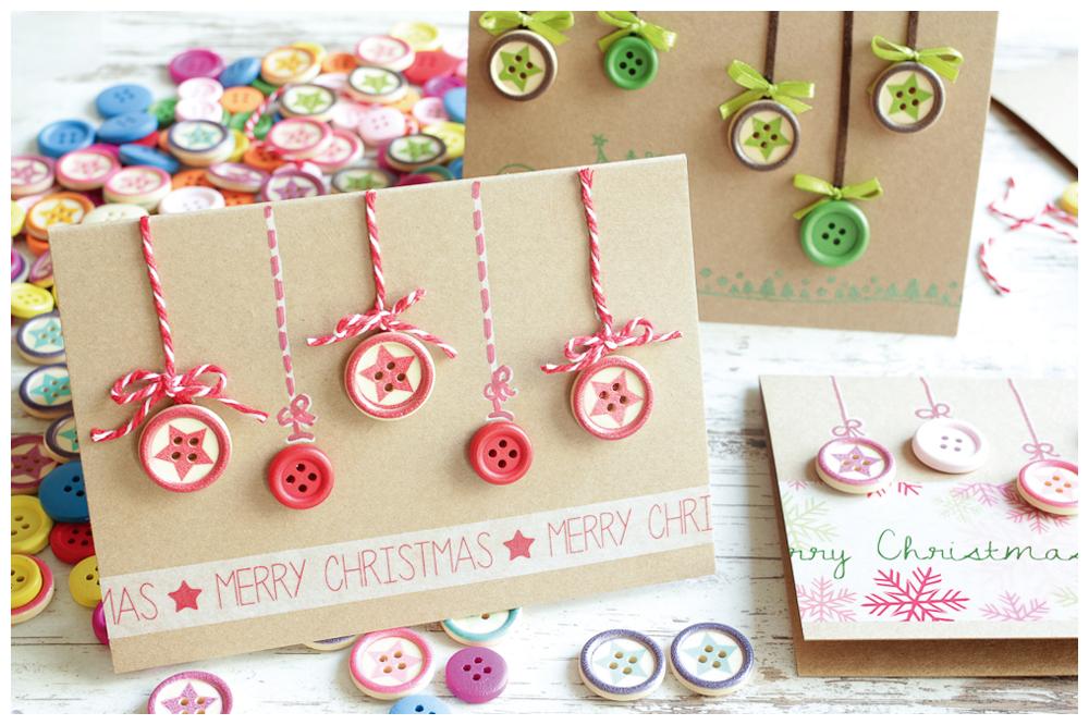 Weihnachtskarten Mit Knöpfen.Weihnachtskarte Mit Bunten Knöpfen
