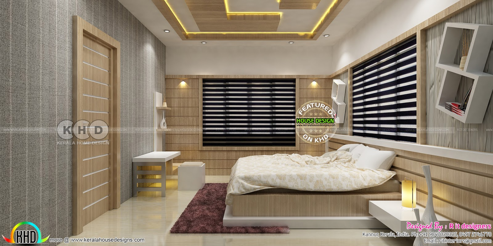 Beautiful modern bedroom interior designs kerala home for Beautiful contemporary bedrooms