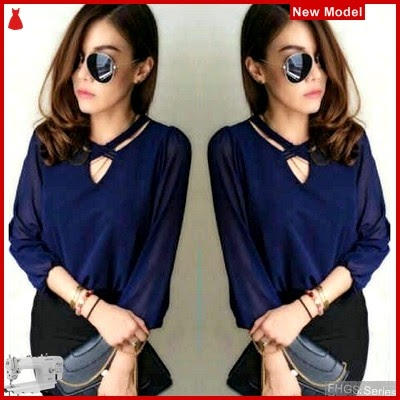 FHGS9012 Model Blouse Cherish Navy, Wolly Blouse Perempuan Crepe BMG