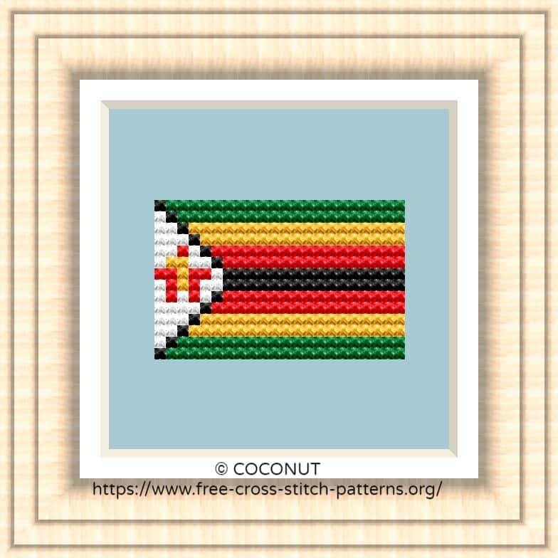 NATIONAL FLAG OF ZIMBABWE CROSS STITCH CHART