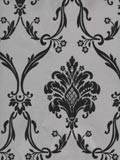 Black and Silver Damask Wallpaper