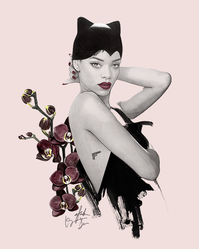 Rihanna illustration for women's day collaboration by Kei Meguro, Alex Saba and Dena Cooper