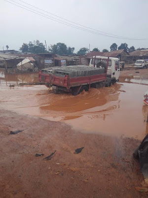 See the state of Abeokuka/Ibadan road after rainfall today