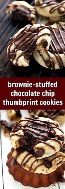Brownie + Chocolate Chip Cookie Thumbprint Cookies