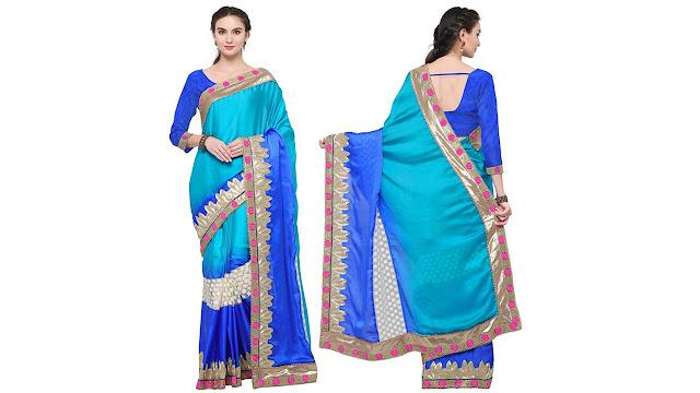 Saara Embroidered, Embellished, Self Design, Solid Fashion Georgette, Net, Satin Saree  (Blue)