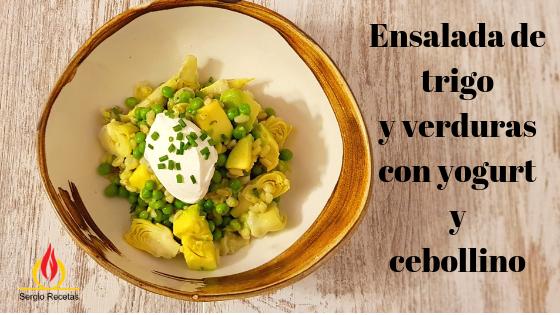 Ensalada de trigo tierno con verduras y yogurt. Ideas saludable que enamoran