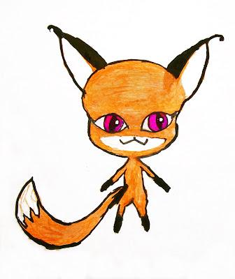 детский рисунок волшебный зверёк квами - лисичка Трикси, проект 100 дней