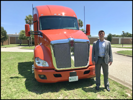Drew Bennett with a Kenworth T680 on display at Eglin AFB
