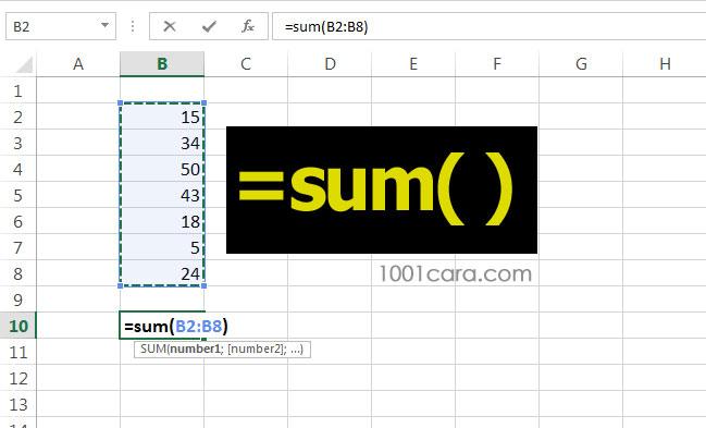 Hitung angka dengan fungsi SUM di excel
