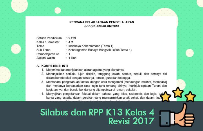 Silabus dan RPP K13 Kelas 4 Revisi 2017
