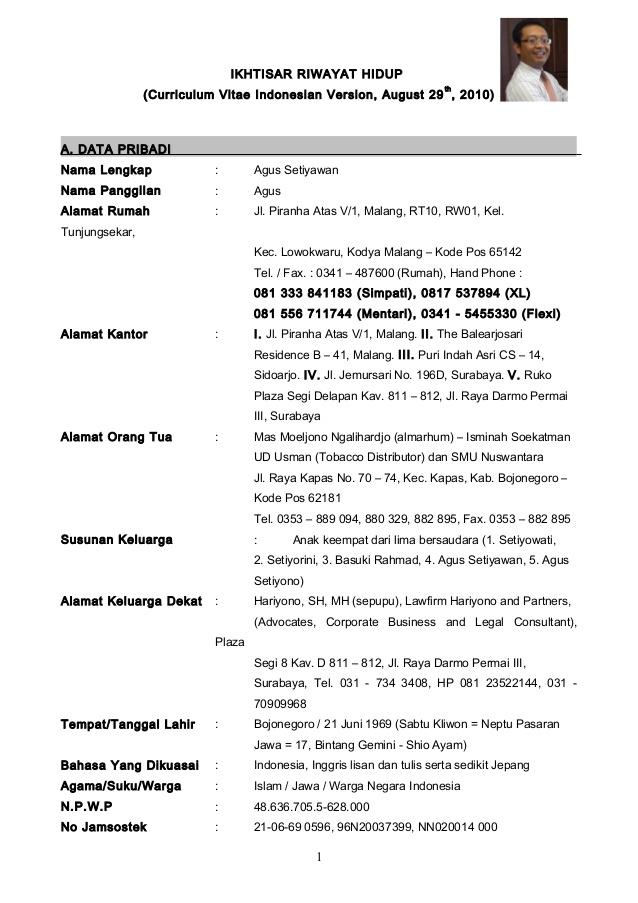 Contoh Resume Cv Bahasa Inggris
