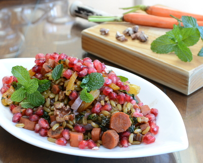 Egyptian Kamut Salad, another Meatless Monday recipe ♥ AVeggieVenture.com, a whole-grain salad with roasted carrots, kale, dried fruit and walnuts, rained with pomegranate. Vegan.