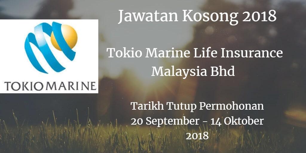 Jawatan Kosong Tokio Marine Life Insurance Malaysia Bhd 20 September - 14 Oktober 2018